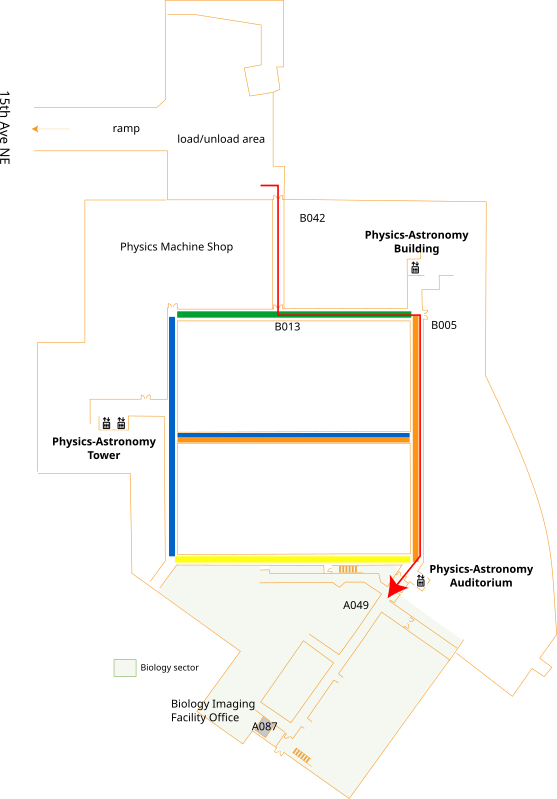 delivery route from loading dock to Imaging Facility